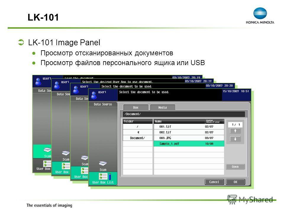 Exchange Meeting Jan 06 – Lars Moderow LK-101 Image Panel Просмотр отсканированных документов Просмотр файлов персонального ящика или USB LK-101