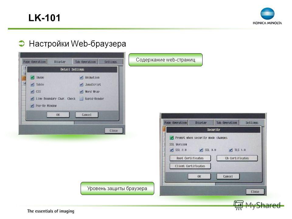Exchange Meeting Jan 06 – Lars Moderow Настройки Web-браузера LK-101 Содержание web-страниц Уровень защиты браузера