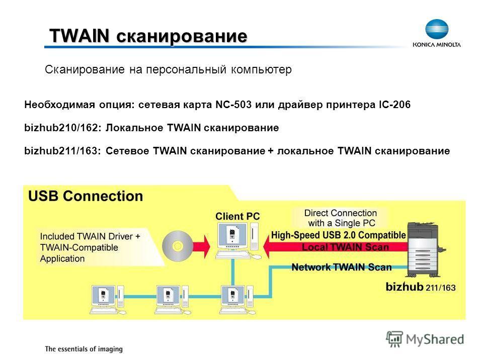 TWAIN сканирование Необходимая опция: сетевая карта NC-503 или драйвер принтера IC-206 bizhub210/162:Локальное TWAIN сканирование bizhub211/163:Сетевое TWAIN сканирование + локальное TWAIN сканирование Сканирование на персональный компьютер