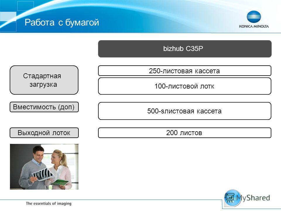 Работа с бумагой Стадартная загрузка 100-листовой лотк 250-листовая кассета 500-sлистовая кассета Вместимость (доп) Выходной лоток200 листов bizhub C35P