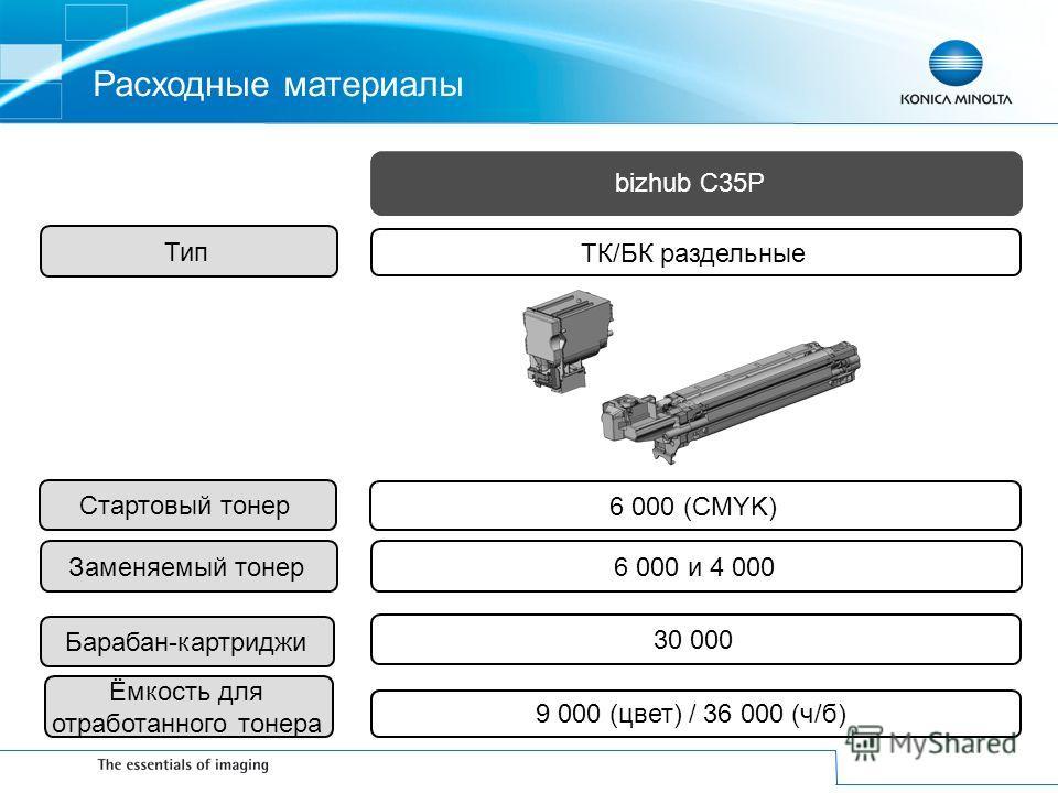 ТК/БК раздельные 6 000 (CMYK) 6 000 и 4 000 9K(цвет)/36K(ч/б) Расходные материалы 9 000 (цвет) / 36 000 (ч/б) Стартовый тонерЗаменяемый тонерБарабан-картриджи30 000 Ёмкость для отработанного тонера Тип bizhub C35P
