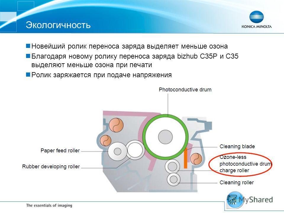 Экологичность Новейший ролик переноса заряда выделяет меньше озона Благодаря новому ролику переноса заряда bizhub C35P и C35 выделяют меньше озона при печати Ролик заряжается при подаче напряжения