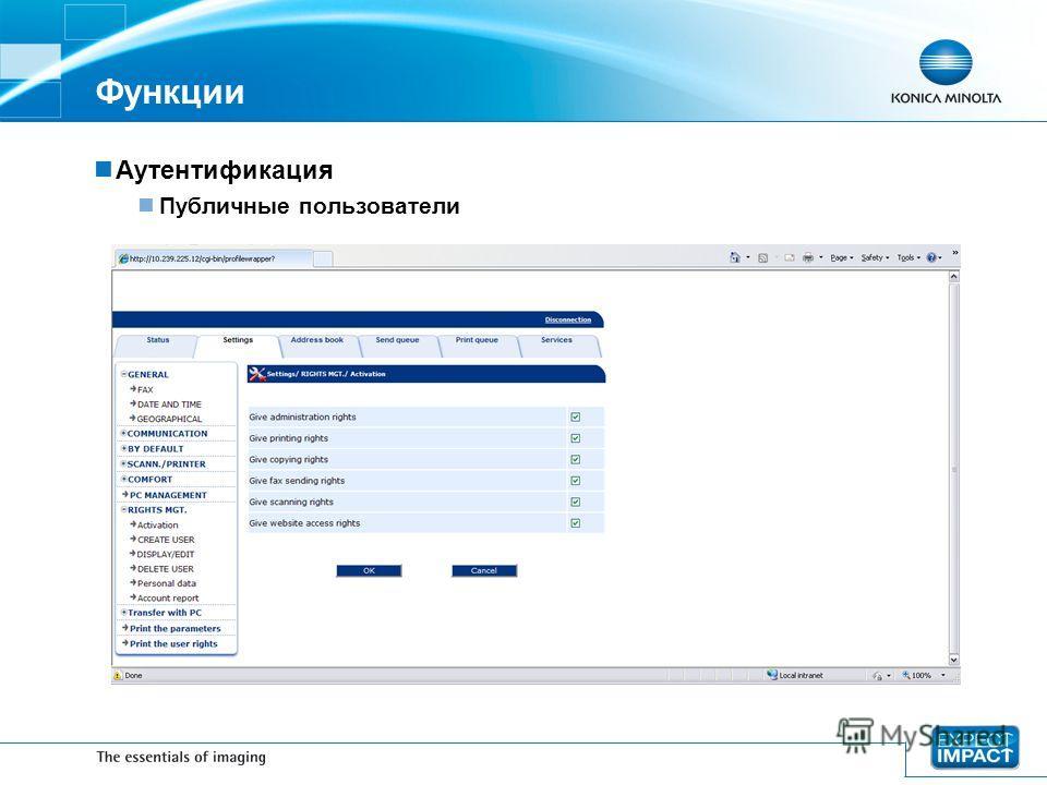 Функции Аутентификация Публичные пользователи