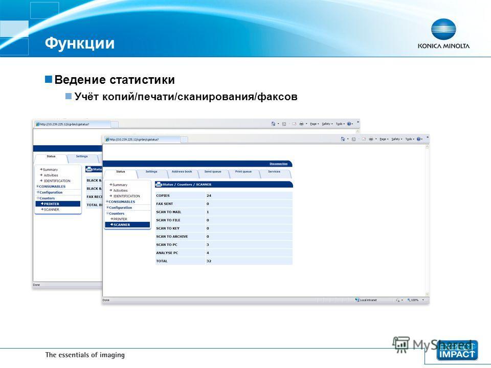Функции Ведение статистики Учёт копий/печати/сканирования/факсов