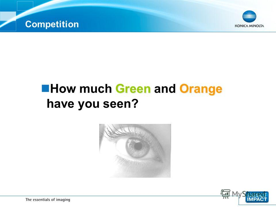 Competition GreenOrange How much Green and Orange have you seen?