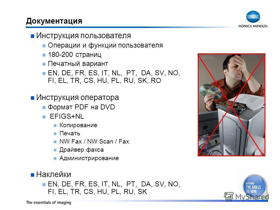 Документация Инструкция пользователя Операции и функции пользователя 180-200 страниц Печатный вариант EN, DE, FR, ES, IT, NL, PT, DA, SV, NO, FI, EL, TR, CS, HU, PL, RU, SK, RO Инструкция оператора Формат PDF на DVD EFIGS+NL Копирование Печать NW Fax