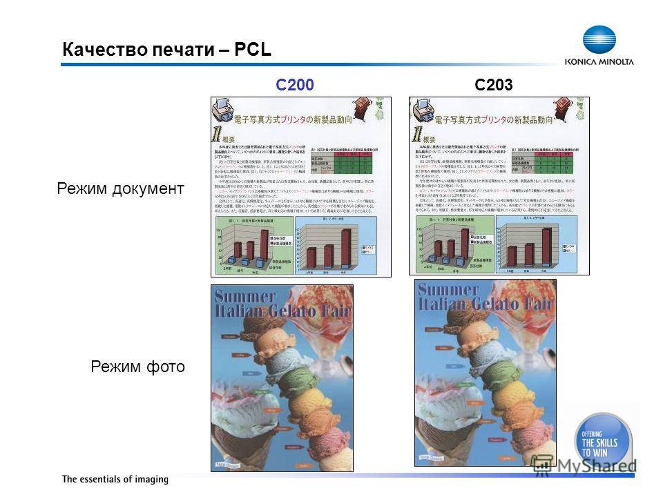 Качество печати – PCL Режим документ Режим фото C200C203