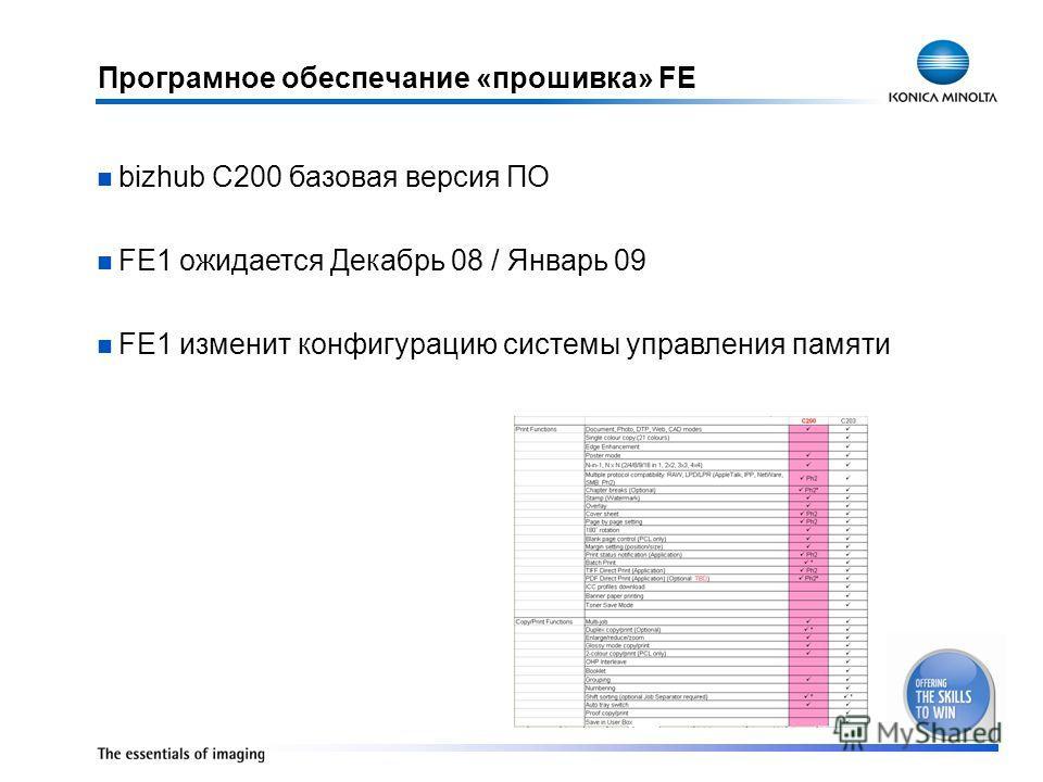 Програмное обеспечание «прошивка» FE bizhub C200 базовая версия ПО FE1 ожидается Декабрь 08 / Январь 09 FE1 изменит конфигурацию системы управления памяти