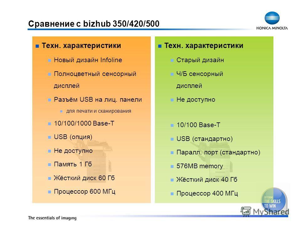 Техн. характеристики Новый дизайн Infoline Полноцветный сенсорный дисплей Разъём USB на лиц. панели для печати и сканирования 10/100/1000 Base-T USB (опция) Не доступно Память 1 Гб Жёсткий диск 60 Гб Процессор 600 МГц Техн. характеристики Старый диза