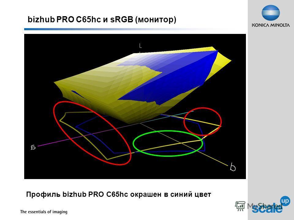 bizhub PRO C65hc и sRGB (монитор) Профиль bizhub PRO C65hc окрашен в синий цвет