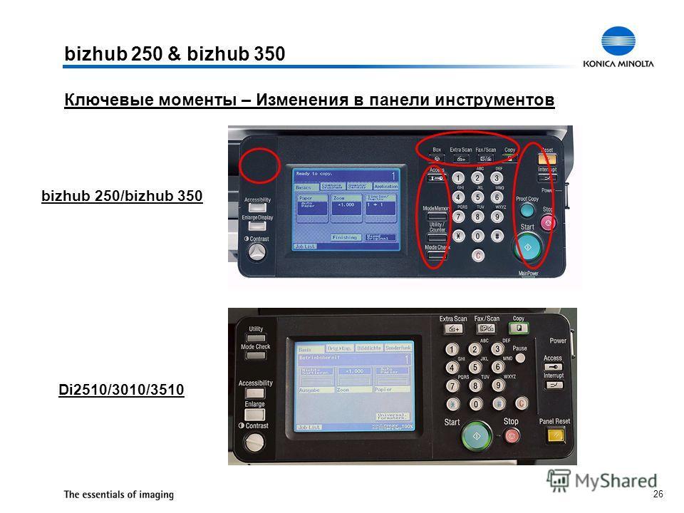 26 Ключевые моменты – Изменения в панели инструментов bizhub 250 & bizhub 350 bizhub 250/bizhub 350 Di2510/3010/3510