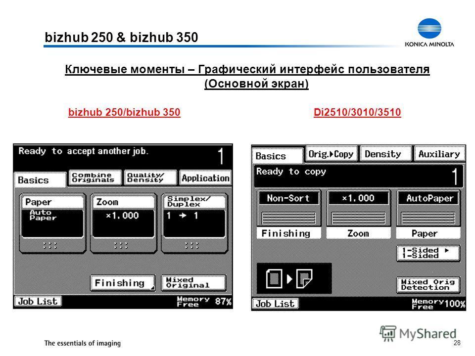 28 Ключевые моменты – Графический интерфейс пользователя (Основной экран) bizhub 250 & bizhub 350 bizhub 250/bizhub 350Di2510/3010/3510