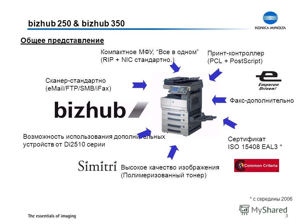3 Общее представление bizhub 250 & bizhub 350 Сертификат ISO 15408 EAL3 * Возможность использования дополнительных устройств от Di2510 серии Факс-дополнительно Высокое качество изображения (Полимеризованный тонер) Сканер-стандартно (eMail/FTP/SMB/iFa