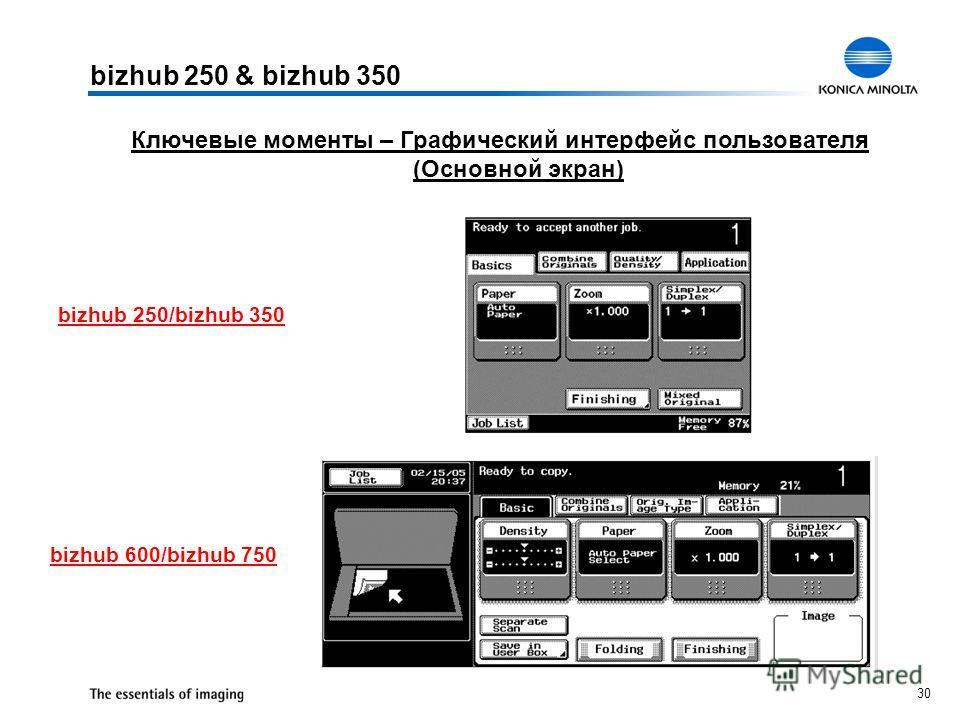 30 Ключевые моменты – Графический интерфейс пользователя (Основной экран) bizhub 250 & bizhub 350 bizhub 600/bizhub 750 bizhub 250/bizhub 350