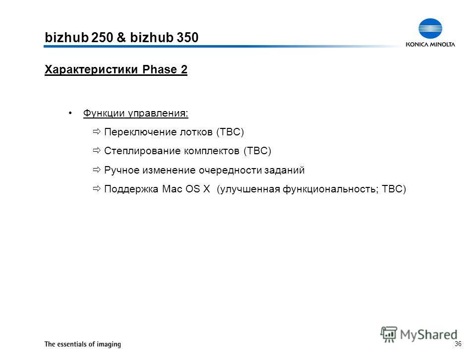 36 Характеристики Phase 2 Функции управления: Переключение лотков (TBC) Степлирование комплектов (TBC) Ручное изменение очередности заданий Поддержка Mac OS X (улучшенная функциональность; TBC) bizhub 250 & bizhub 350
