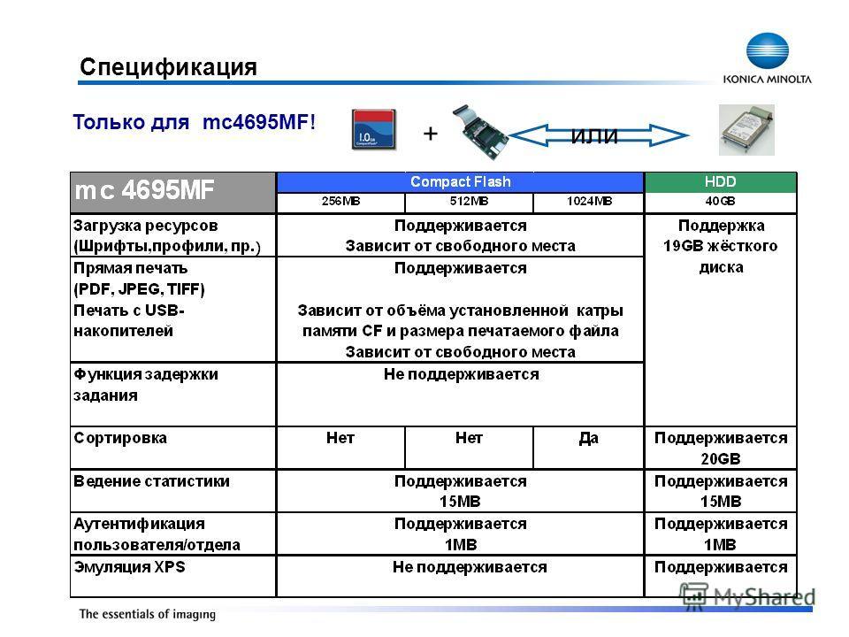 или+ Спецификация Только для mc4695MF!