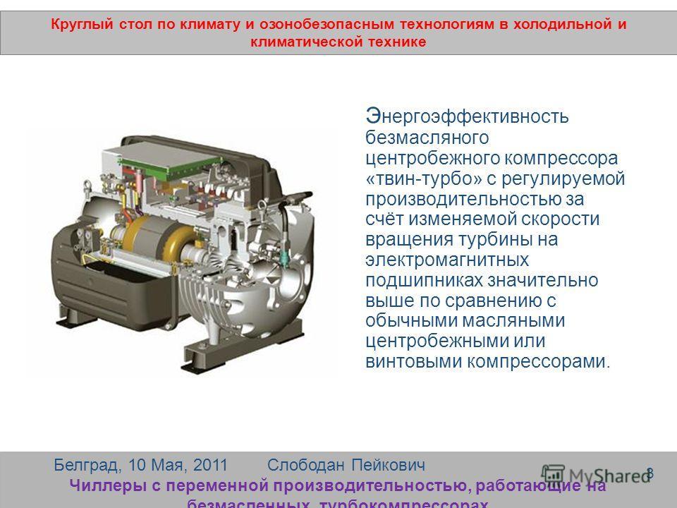 Э нергоэффективность безмасляного центробежного компрессора «твин-турбо» с регулируемой производительностью за счёт изменяемой скорости вращения турбины на электромагнитных подшипниках значительно выше по сравнению с обычными масляными центробежными