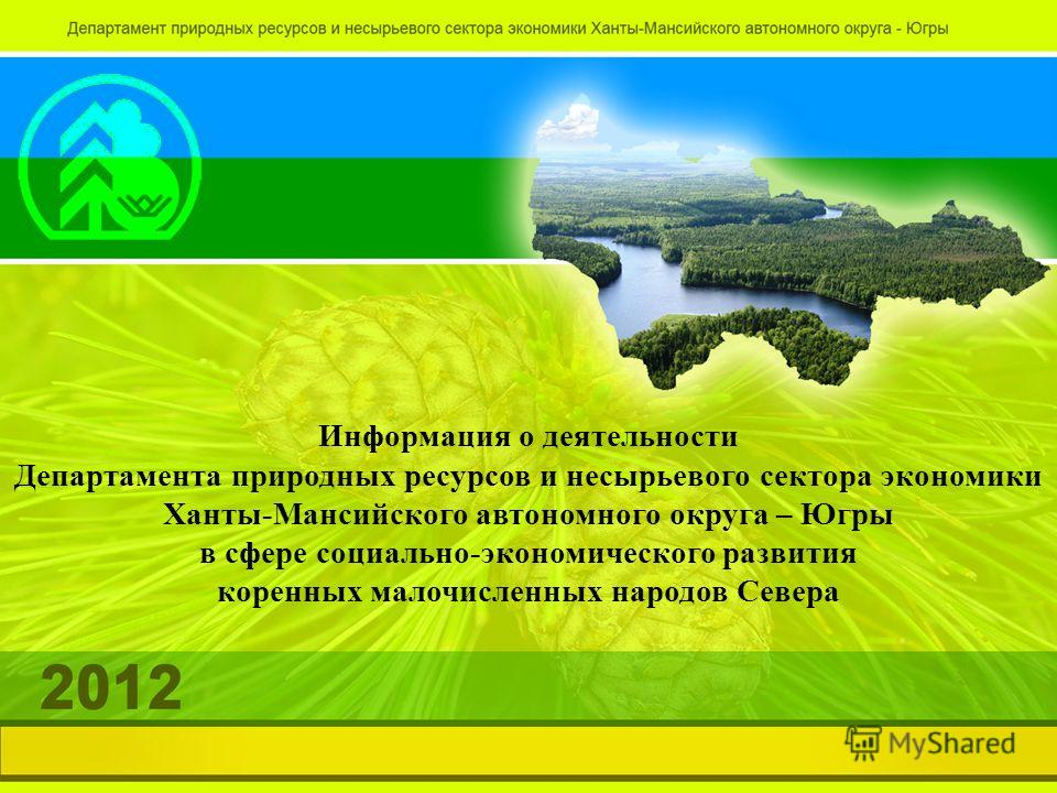 Информация о деятельности Департамента природных ресурсов и несырьевого сектора экономики Ханты-Мансийского автономного округа – Югры в сфере социально-экономического развития коренных малочисленных народов Севера