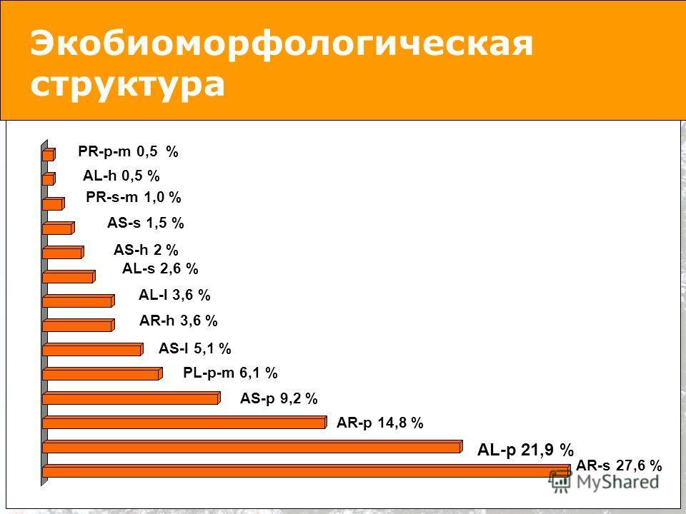 Экобиоморфологическая структура AR-s 27,6 % AL-p 21,9 % AR-p 14,8 % AL-h 0,5 % PR-p-m 0,5 % AS-p 9,2 % PL-p-m 6,1 % AS-l 5,1 % AR-h 3,6 % AL-l 3,6 % AL-s 2,6 % AS-h 2 % AS-s 1,5 % PR-s-m 1,0 %