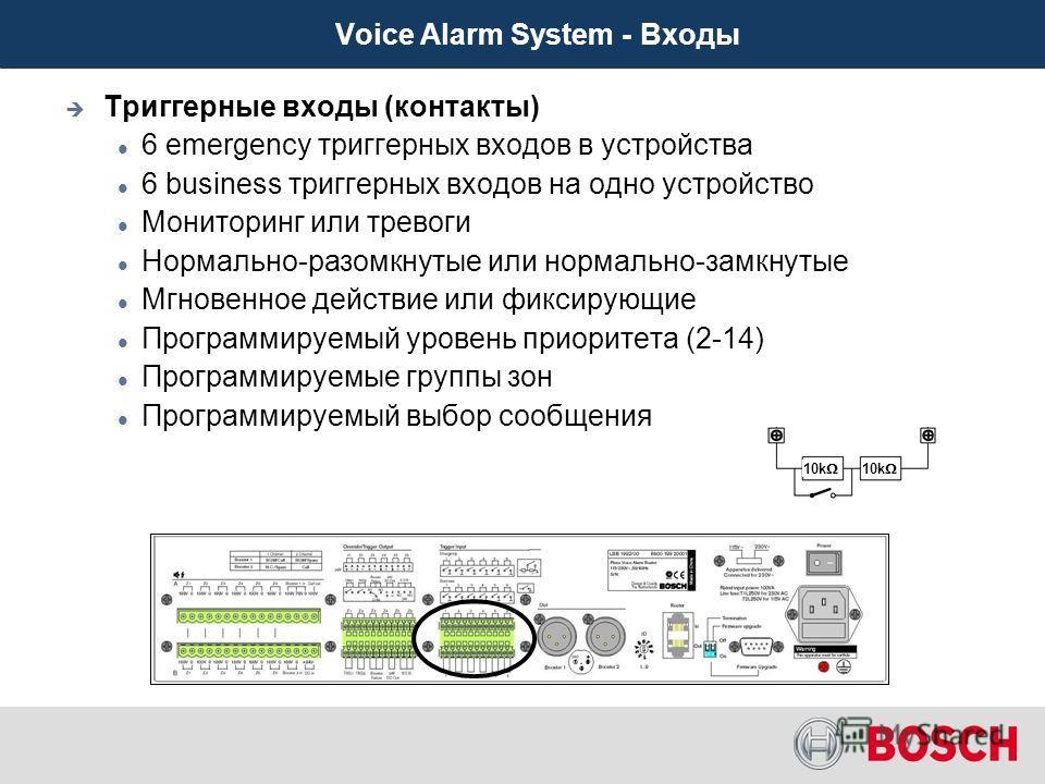 Триггерные входы (контакты) 6 emergency триггерных входов в устройства 6 business триггерных входов на одно устройство Мониторинг или тревоги Нормально-разомкнутые или нормально-замкнутые Мгновенное действие или фиксирующие Программируемый уровень пр