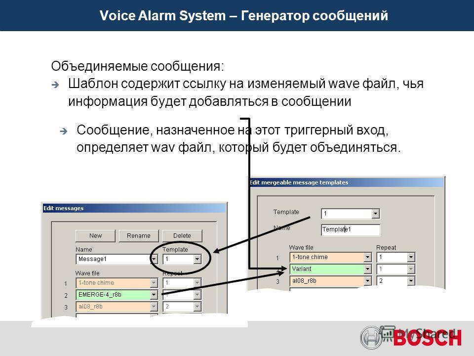 Voice Alarm System – Генератор сообщений До 255 сообщений В сообщении может быть до 8 WAV Каждый файл WAV повторяется до 10 раз Уникальная функция объединения разных сообщений Позволяет индивидуальным триггерным входам добавлять или поглощать информа