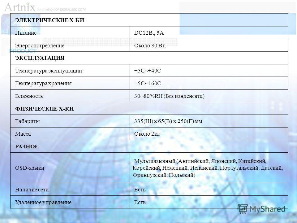 ЭЛЕКТРИЧЕСКИЕ Х-КИ Питание DC12В., 5A Энергопотребление Около 30 Вт. ЭКСПЛУАТАЦИЯ Температура эксплуатации +5С~+40С Температура хранения +5С~+60С Влажность 30~80%RH (Без конденсата) ФИЗИЧЕСКИЕ Х-КИ Габариты 335(Ш) x 65(В) x 250(Г) мм Масса Около 2кг.