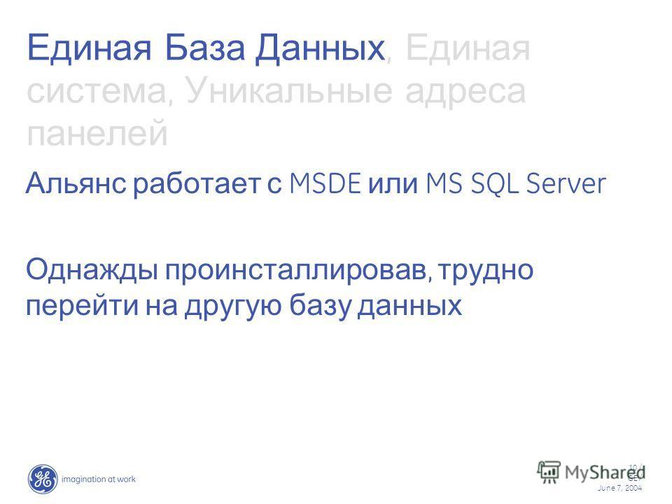 10 / GE / June 7, 2004 Единая База Данных, Единая система, Уникальные адреса панелей Альянс работает с MSDE или MS SQL Server Однажды проинсталлировав, трудно перейти на другую базу данных