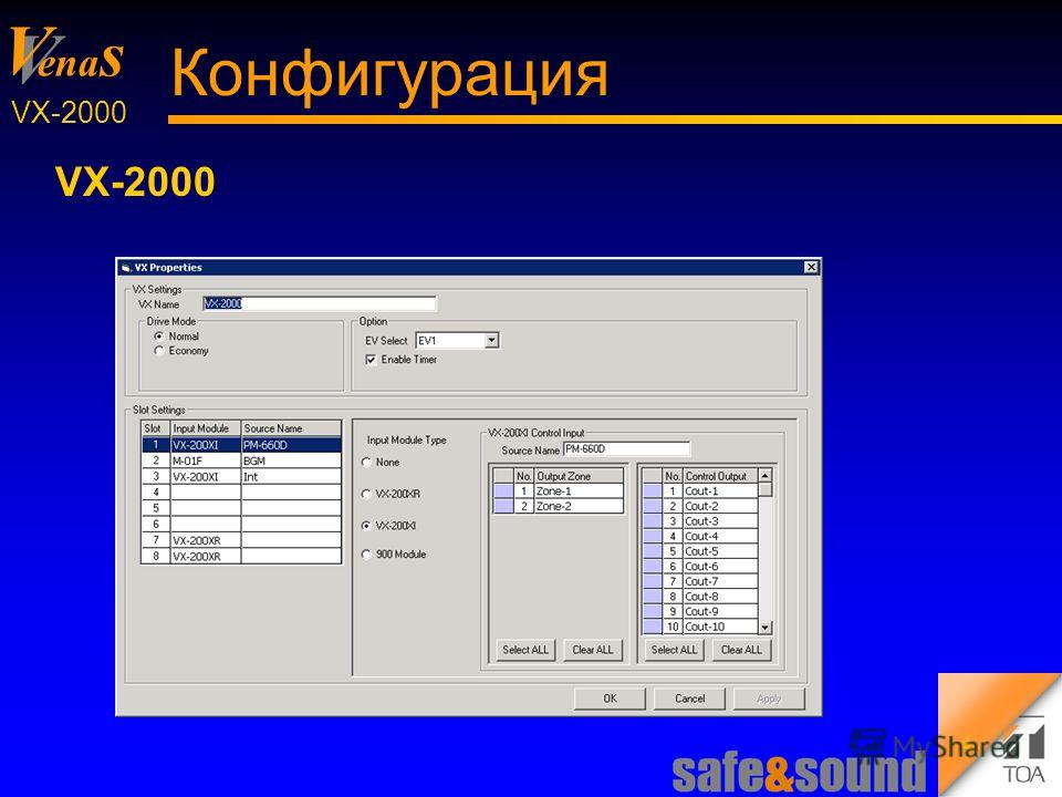 Background Design: Torsten Kranz V V ena s VX-2000 4 Конфигурация VX-2000