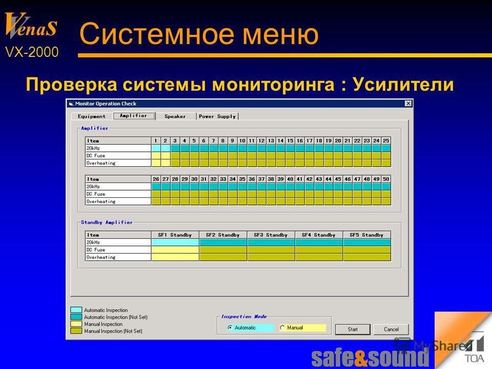 Background Design: Torsten Kranz V V ena s VX-2000 41 Системное меню Проверка системы мониторинга : Усилители
