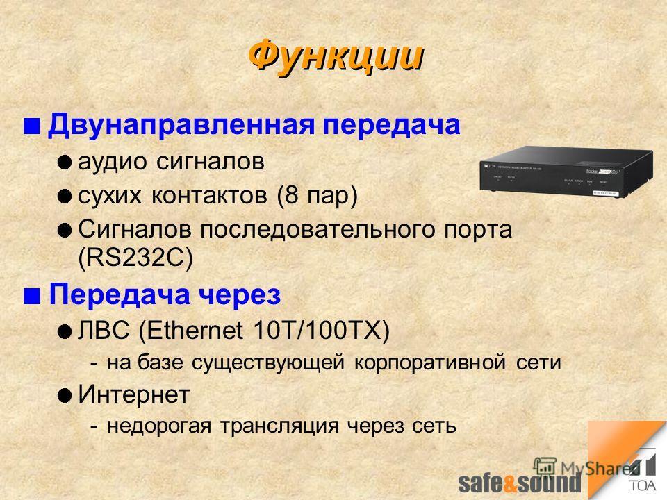 Функции n Двунаправленная передача l аудио сигналов l сухих контактов (8 пар) l Сигналов последовательного порта (RS232C) n Передача через l ЛВС (Ethernet 10T/100TX) на базе существующей корпоративной сети l Интернет недорогая трансляция через сеть
