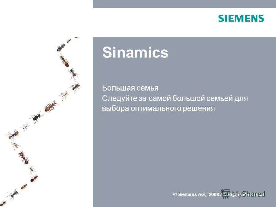 © Siemens AG, 2008 All Rights Reserved Sinamics Большая семья Следуйте за самой большой семьей для выбора оптимального решения