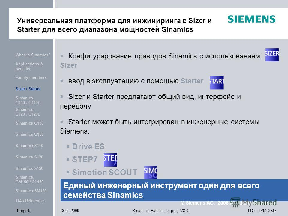 © Siemens AG, 2008 All Rights Reserved What is Sinamics? Applications & benefits Family members Sizer / Starter Sinamics G110 / G110D Sinamics G120 / G120D Sinamics G130 Sinamics G150 Sinamics S110 Sinamics S120 Sinamics S150 Sinamics GM150 / GL150 S
