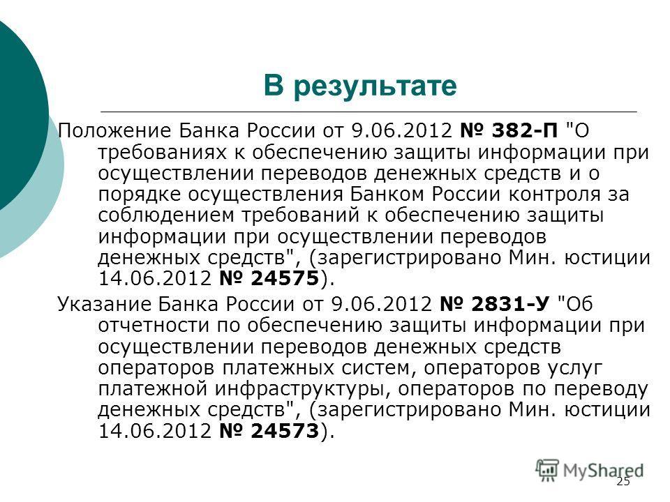25 В результате Положение Банка России от 9.06.2012 382-П