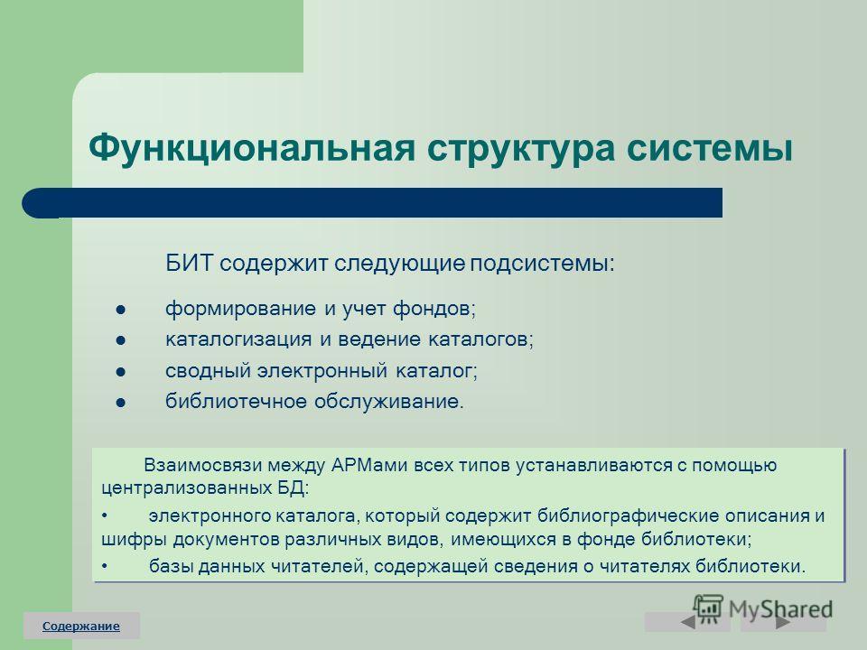 Функциональная структура системы БИТ содержит следующие подсистемы: формирование и учет фондов; каталогизация и ведение каталогов; сводный электронный каталог; библиотечное обслуживание. Взаимосвязи между АРМами всех типов устанавливаются с помощью ц
