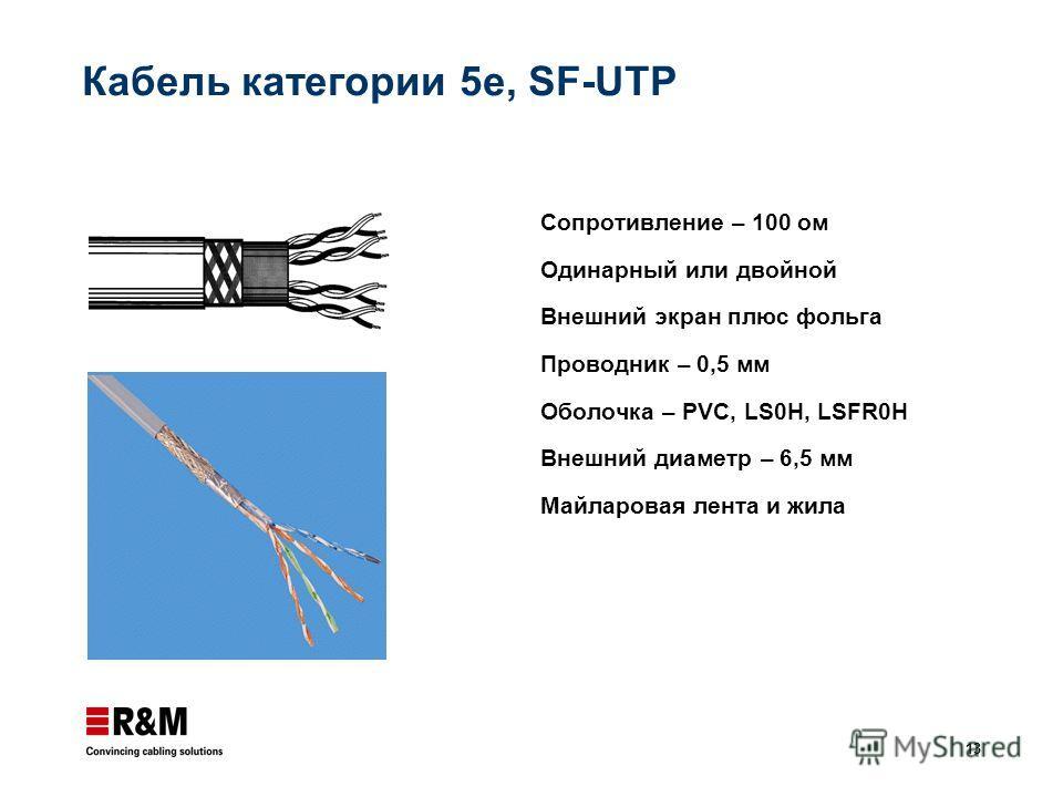 13 Кабель категории 5e, SF-UTP Сопротивление – 100 ом Одинарный или двойной Внешний экран плюс фольга Проводник – 0,5 мм Оболочка – PVC, LS0H, LSFR0H Внешний диаметр – 6,5 мм Майларовая лента и жила