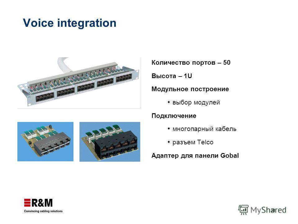 38 Voice integration Количество портов – 50 Высота – 1U Модульное построение выбор модулей Подключение многопарный кабель разъем Telco Адаптер для панели Gobal