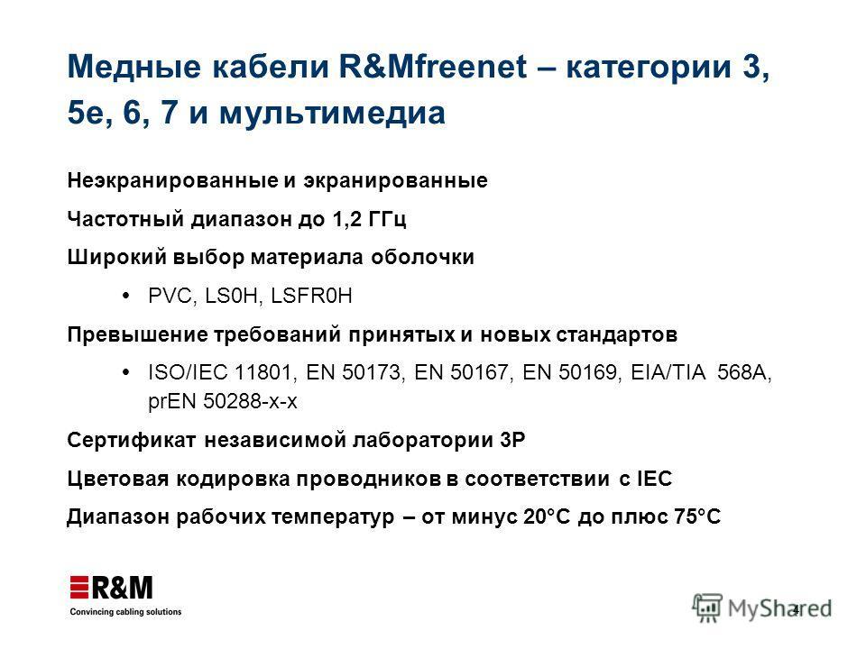 4 Медные кабели R&Mfreenet – категории 3, 5e, 6, 7 и мультимедиа Неэкранированные и экранированные Частотный диапазон до 1,2 ГГц Широкий выбор материала оболочки PVC, LS0H, LSFR0H Превышение требований принятых и новых стандартов ISO/IEC 11801, EN 50