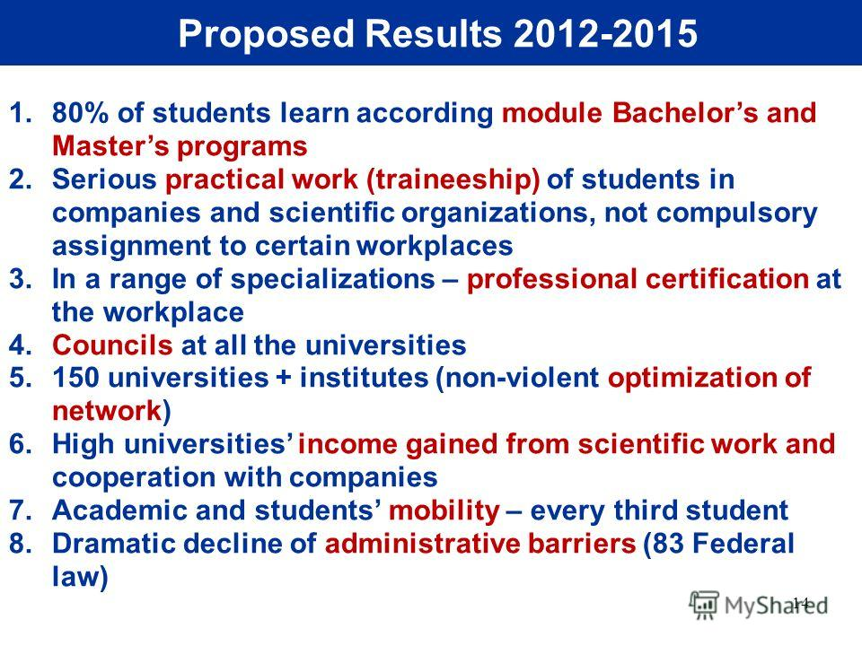 14 Proposed Results 2012-2015 1.80% of students learn according module Bachelors and Masters programs 2.Serious practical work (traineeship) of students in companies and scientific organizations, not compulsory assignment to certain workplaces 3.In a