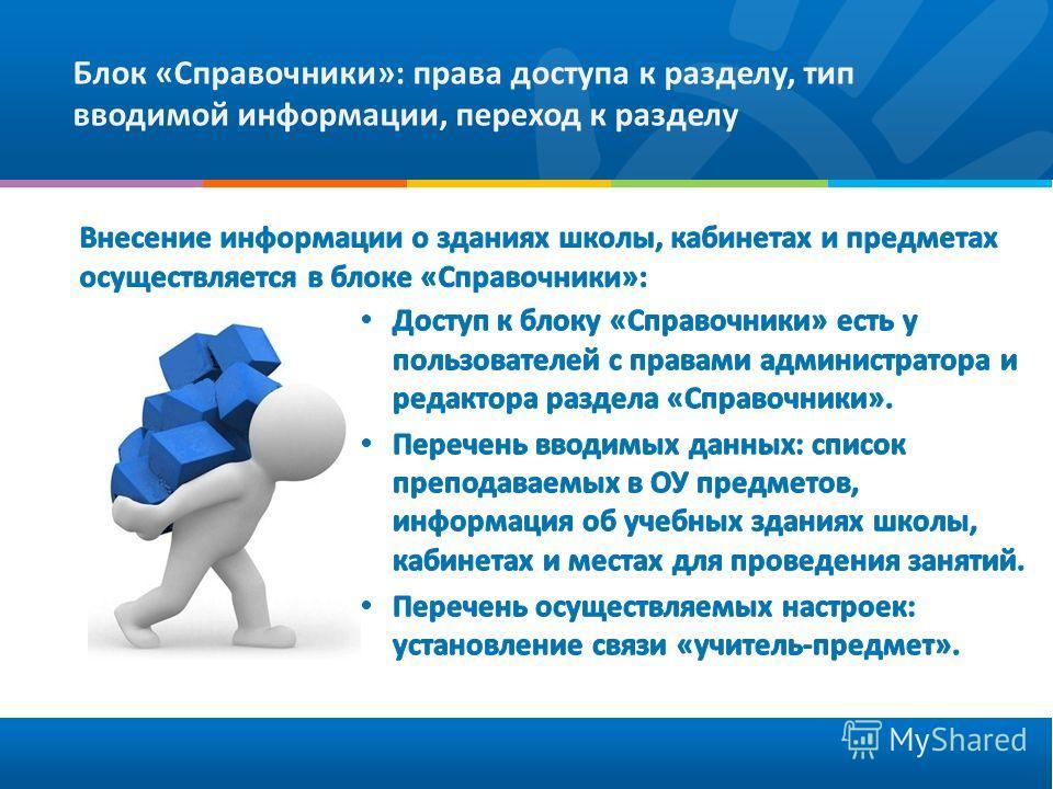Блок «Справочники»: права доступа к разделу, тип вводимой информации, переход к разделу