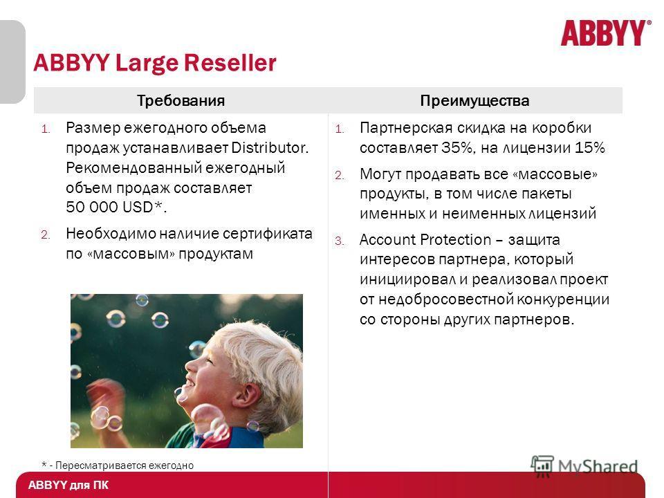 Особенности продаж ПО ABBYY ABBYY для ПК ABBYY Large Reseller ТребованияПреимущества 1. Размер ежегодного объема продаж устанавливает Distributor. Рекомендованный ежегодный объем продаж составляет 50 000 USD*. 2. Необходимо наличие сертификата по «ма