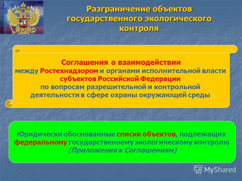 Разграничение объектов государственного экологического контроля Соглашения о взаимодействии между Ростехнадзором и органами исполнительной власти субъектов Российской Федерации по вопросам разрешительной и контрольной деятельности в сфере охраны окру