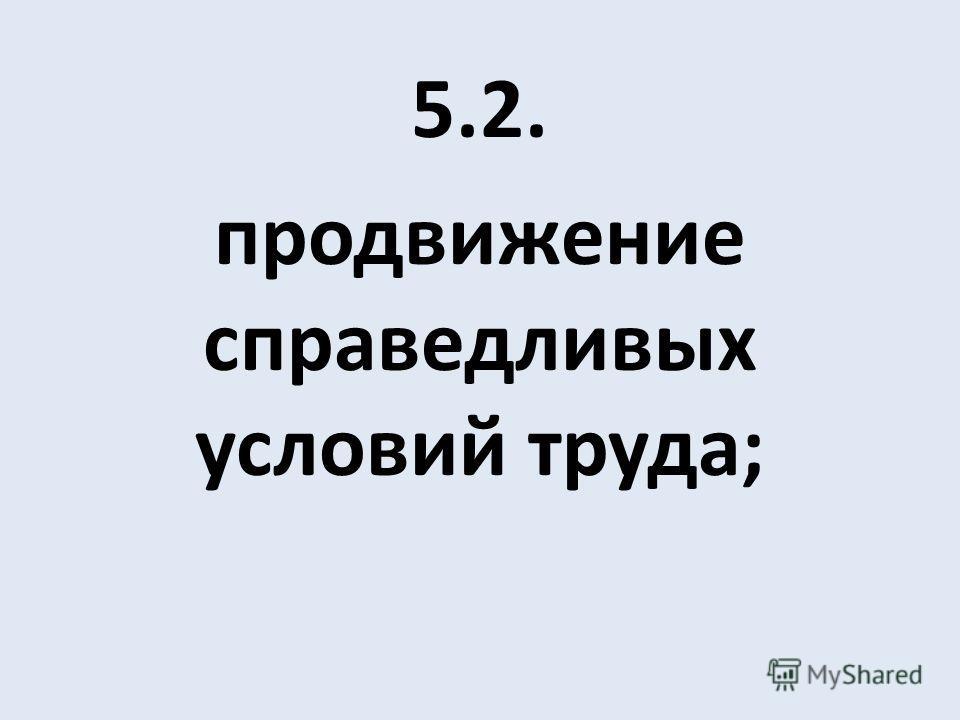5.2. продвижение справедливых условий труда;