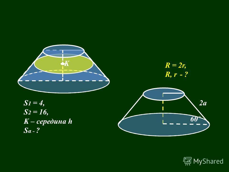 R = 2r, R, r - ? S 1 = 4, S 2 = 16, K – середина h S α - ? 2a K 60˚