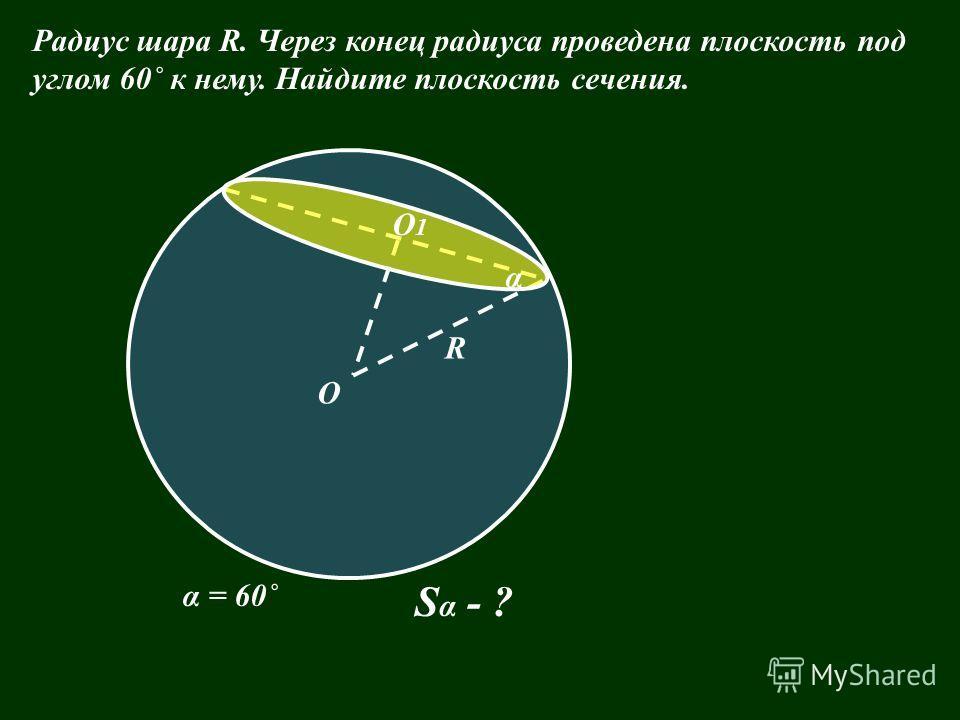 О R α = 60˚ S α - ? Радиус шара R. Через конец радиуса проведена плоскость под углом 60˚ к нему. Найдите плоскость сечения. О1О1 α