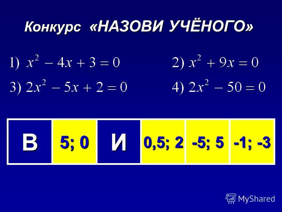 Конкурс «НАЗОВИ УЧЁНОГО» ВИЕТ 5; 0 5; 0 0,5; 2 0,5; 2 -5; 5 -1; -3 -1; -3