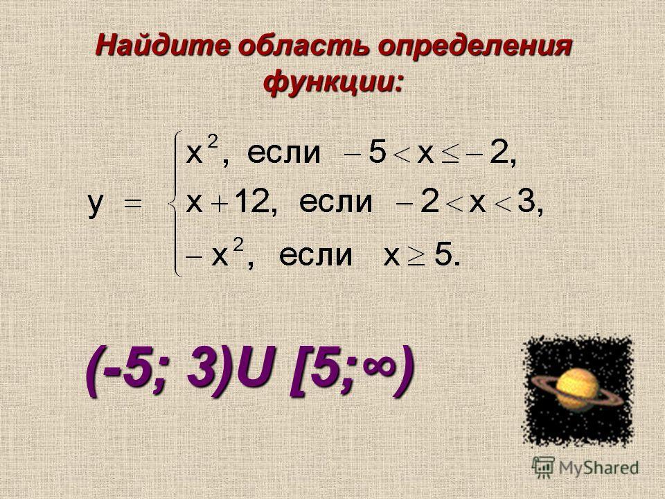 Найдите область определения функции: (-5; 3)U [5;)
