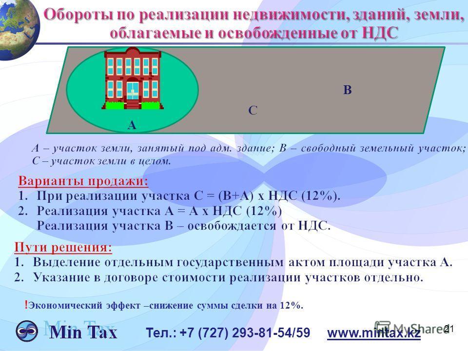 21 Тел.: +7 (727) 293-81-54/59 www.mintax.kz В A ! Экономический эффект –снижение суммы сделки на 12%.