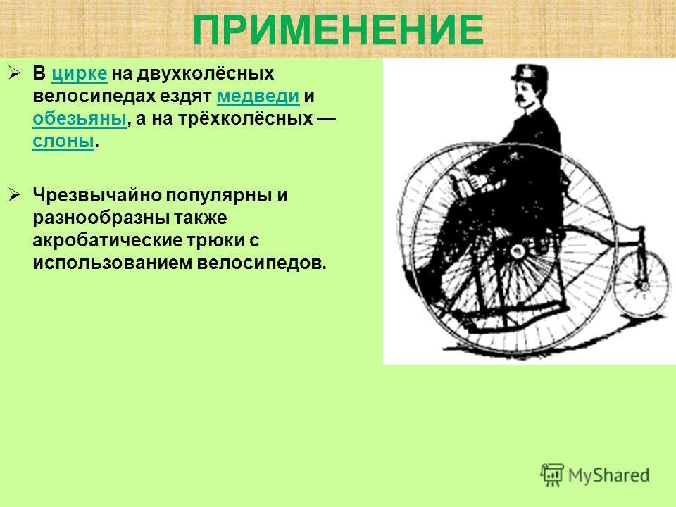 ПРИМЕНЕНИЕ В цирке на двухколёсных велосипедах ездят медведи и обезьяны, а на трёхколёсных слоны.циркемедведи обезьяны слоны Чрезвычайно популярны и разнообразны также акробатические трюки с использованием велосипедов.
