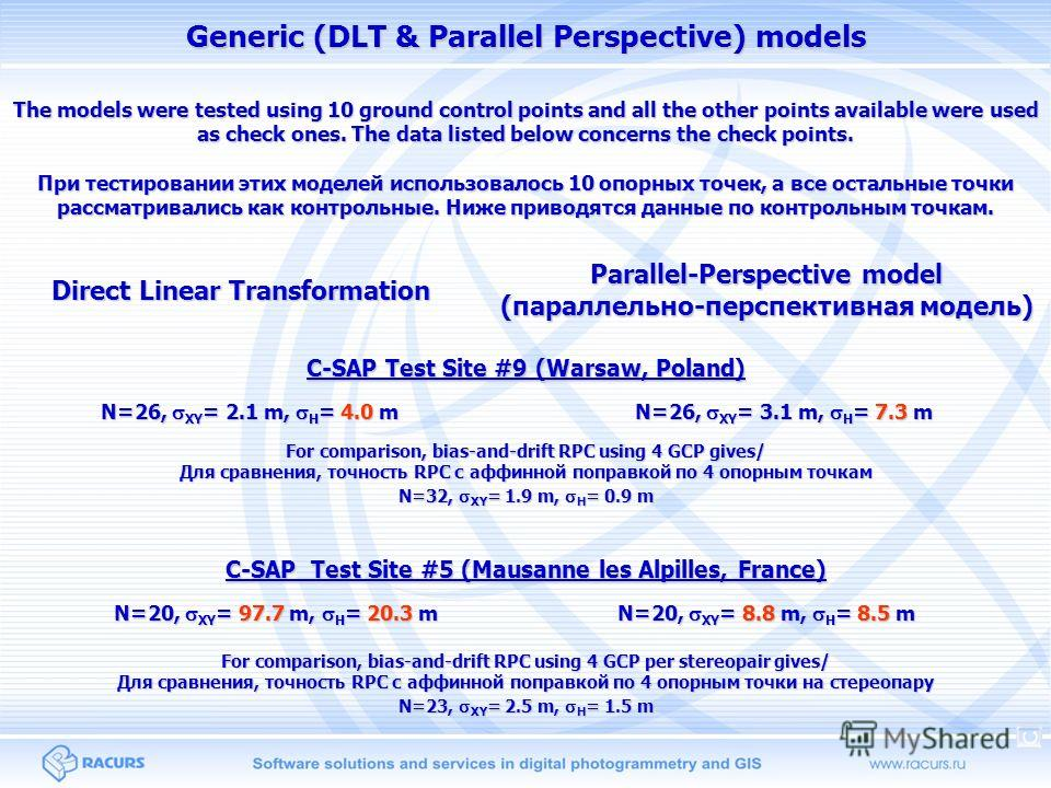 Generic (DLT & Parallel Perspective) models Direct Linear Transformation Parallel-Perspective model (параллельно-перспективная модель) C-SAP Test Site #9 (Warsaw, Poland) C-SAP Test Site #5 (Mausanne les Alpilles, France) N=26, XY = 2.1 m, H = 4.0 m