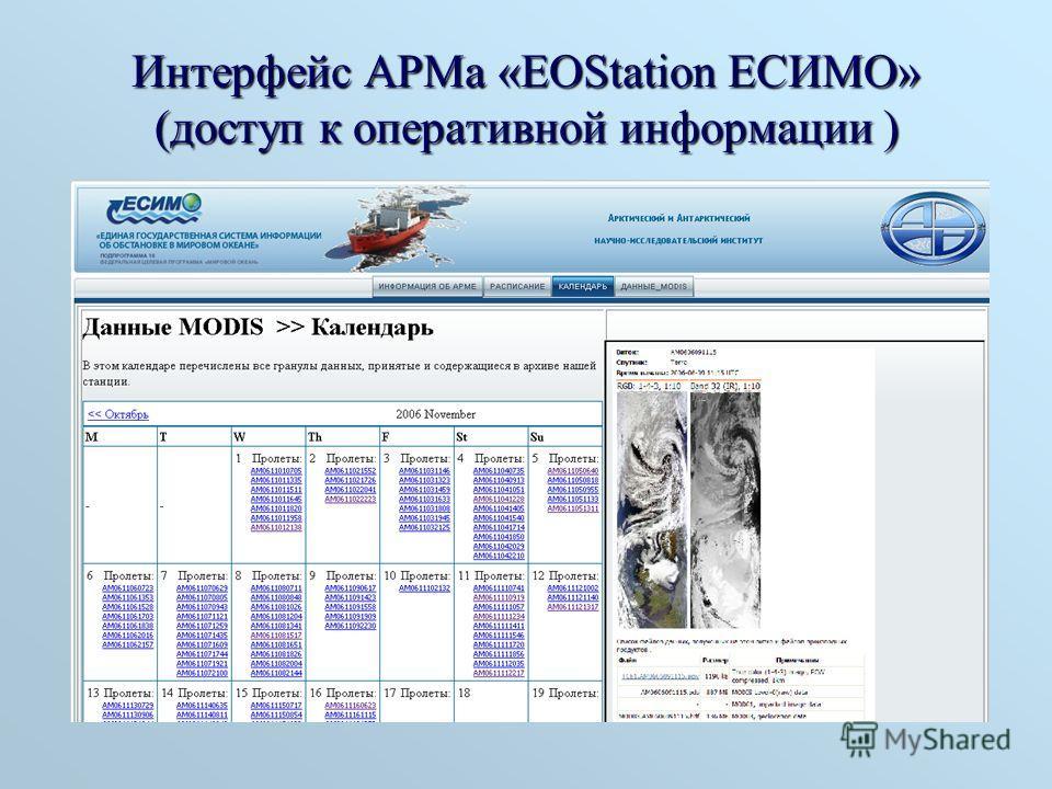 Интерфейс АРМа «EOStation ЕСИМО» (доступ к оперативной информации )
